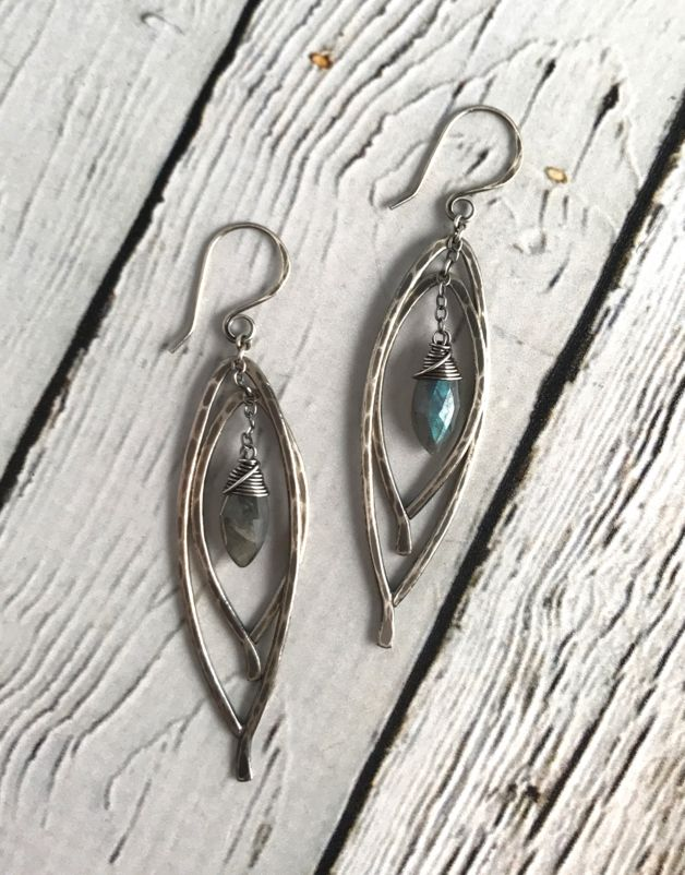 Handmade Oxidized Silver Double Bay Leaf Earrings with Labradorite marquis drop