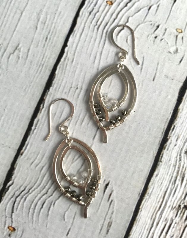 Handmade Silver Double Leaf Earrings with 1/2 wrap of Moonstone and Silver Pyrite stones