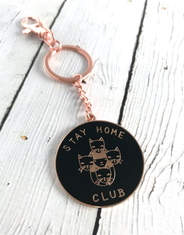 Black and Gold Stay Home Club Keychain