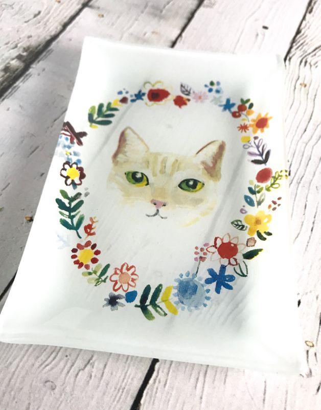 Fancy Floral Cat Plate