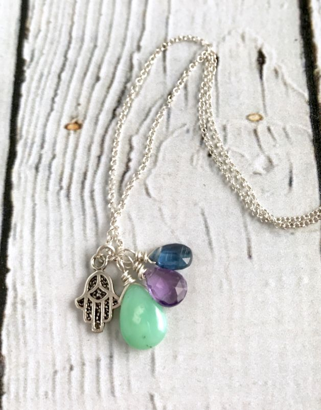 Handmade Silver Necklace with Chrysoprase, Amethyst, Kyanite, Hamsa charm
