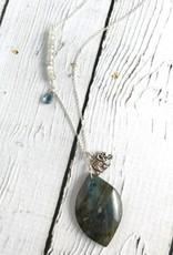Handmade Necklace with Sterling Silver, Labradorite, White Sapphire, London Blue Topaz, Elephant charm