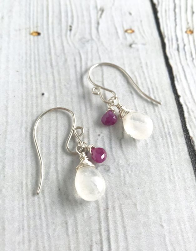 Handmade Silver Earrings with Moonstone , Pink Sapphires