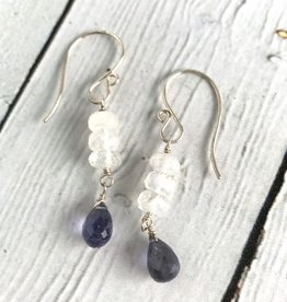 Handmade Silver Earrings with Moonstone row, Iolite drop
