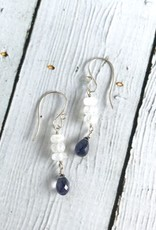 Handmade Silver Earrings with Moonstone row, Iolite drop