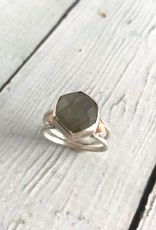 Handmade Hexagonal Labradorite Stone Ring w/ 14k Gold Triangle Accents, Size 8