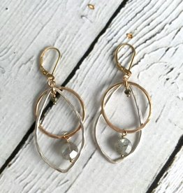Handmade Hammered 14kt gold fill and sterling open circle and teardrop shape with pyrite and labradorite drop earring