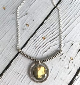 "Handmade Faceted 12mm labradorite coin necklace on 17"" sterling bead and chain"