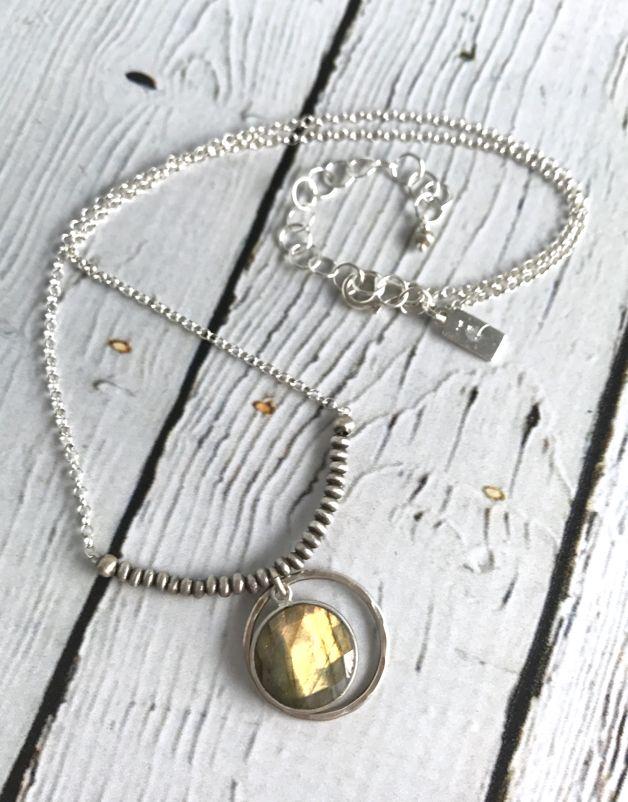 Handmade Faceted Labradorite Coin Necklace