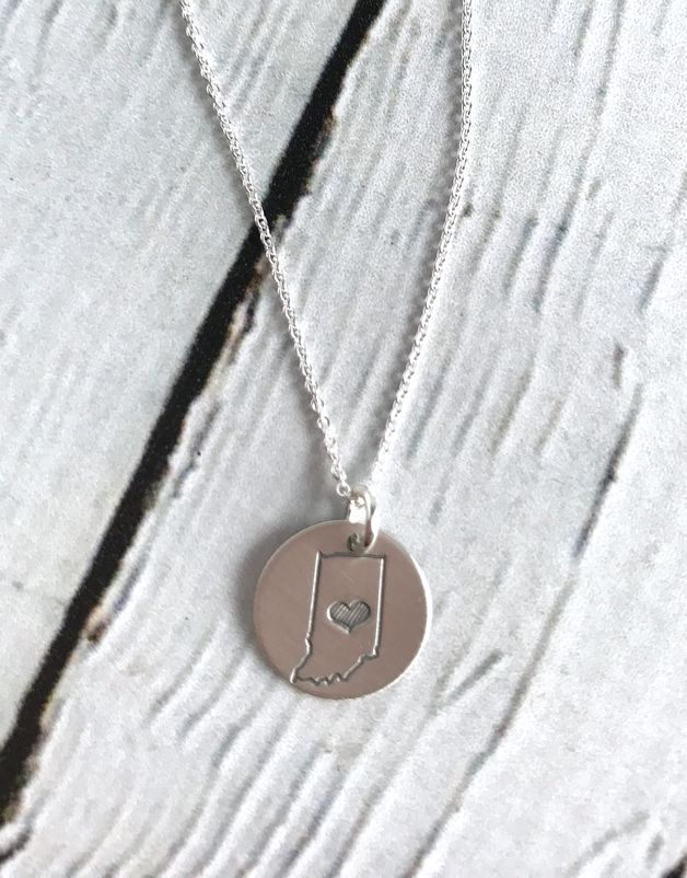 Handstamped Sterling Silver Indiana with Striped Heart Charm Necklace