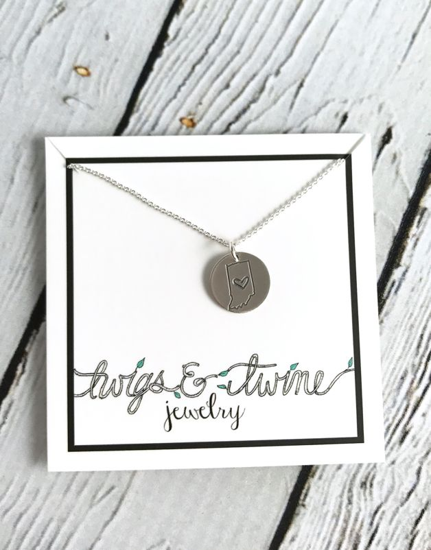 Handstamped Indiana Heart Charm Necklace