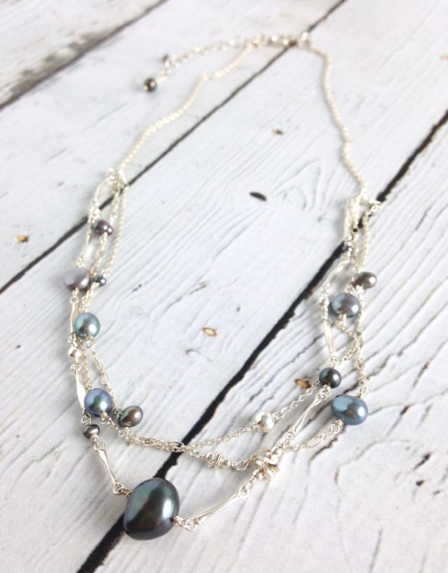 Sterling Silver 1/2 Multi-Strand Silver Necklace with Grey Pearls