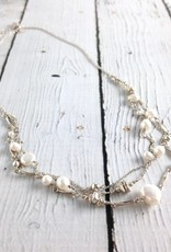 Sterling Silver 1/2 Multi-Strand Silver Necklace with White Pearls