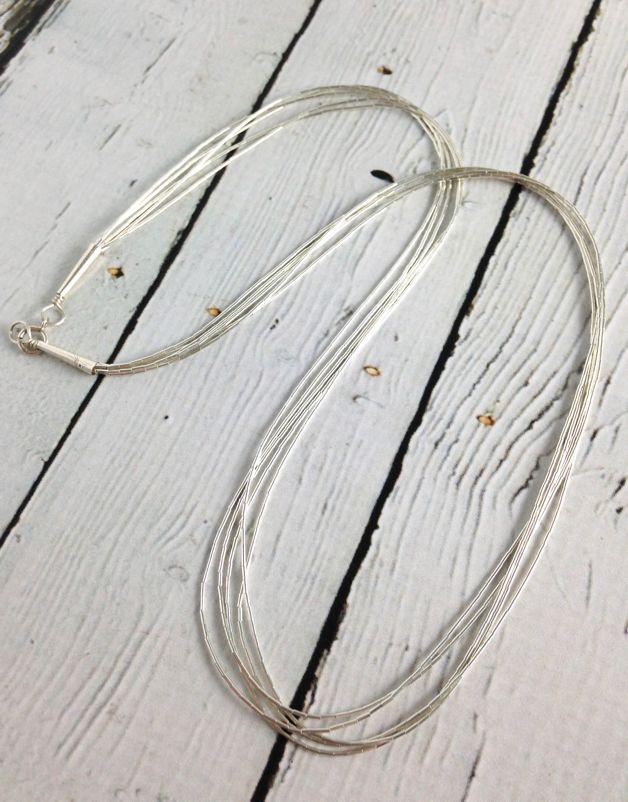 """5 Strand Liquid Silver Necklace: 20"""""""