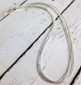 5 Strand Liquid Silver Necklace: 16""