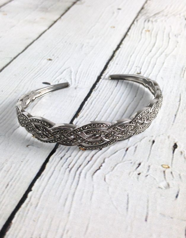 Sterling Silver and Marcasite Cuff Bangle Bracelet