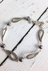 """Sterling Silver, Marcasite and Grey Pearl 8"""" Link Bracelet"""