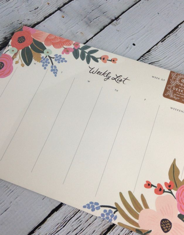 Lively Floral Weekly Desk Pad