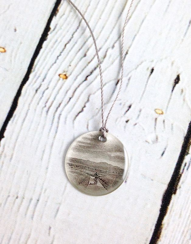 "Sterling Silver Litho ""Bike Path"" Necklace"