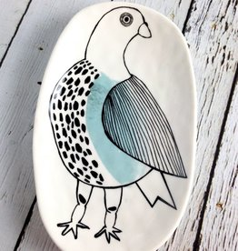 """7""""L Stoneware Plate With Bird"""