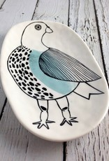 "7""L Stoneware Plate With Bird"