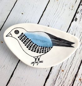 """5-1/2""""L Stoneware Plate with Bird"""