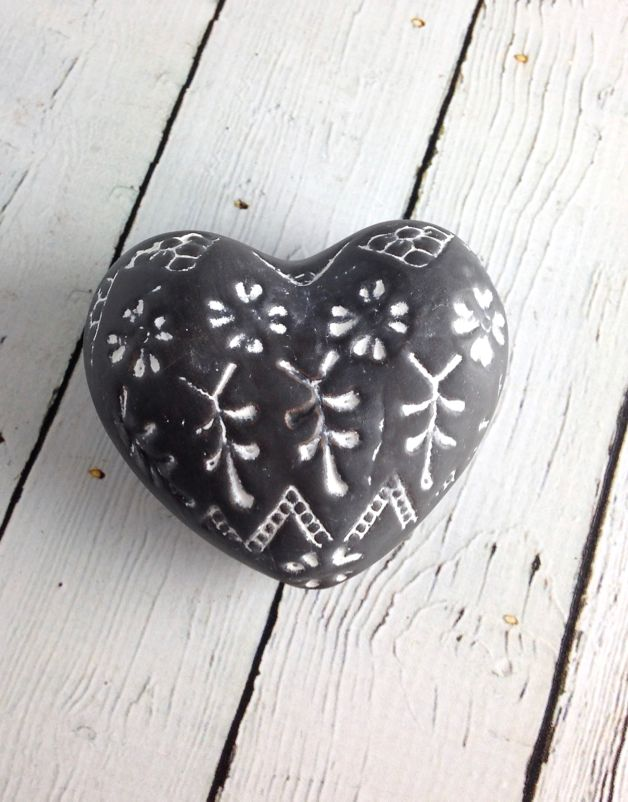 """3-1/2""""L Brown and White Stoneware Heart"""