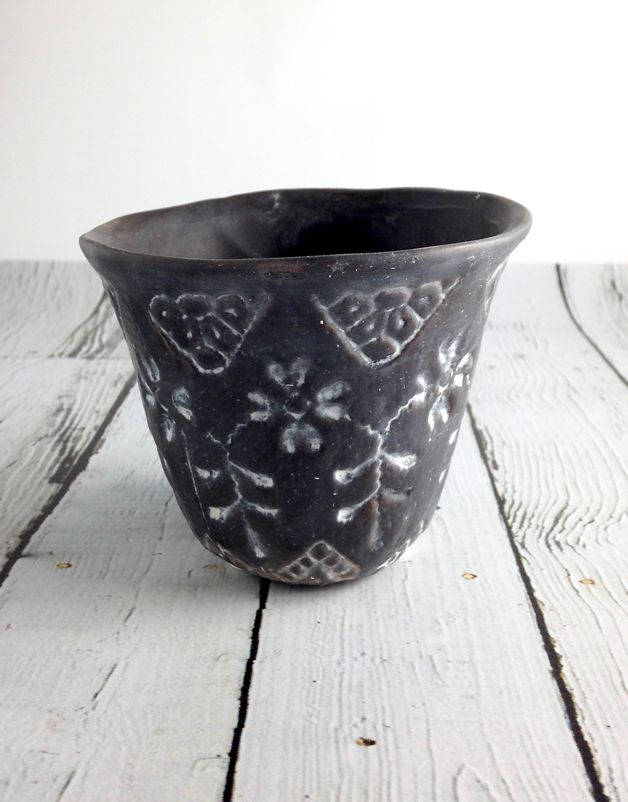 "4""L Stoneware Brown and White Flower Pot"