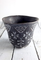 """4""""L Stoneware Brown and White Flower Pot"""