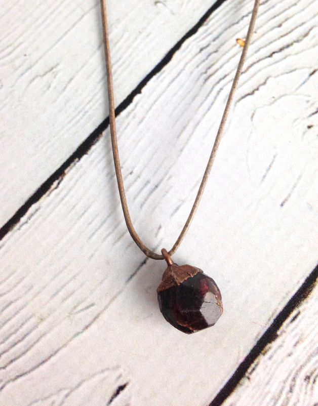 Raw Garnet on Adjustable Leather Necklace