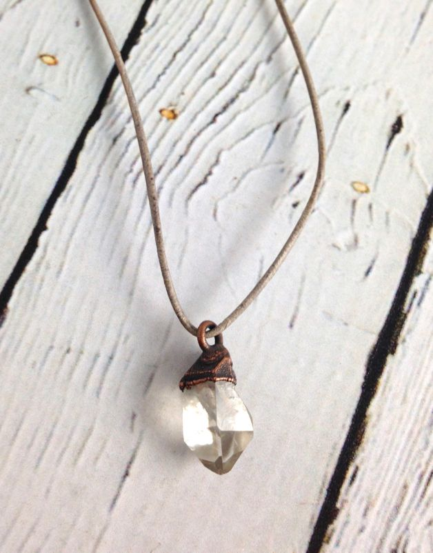 Tibetan Quartz Crystal on adjustable leather necklace