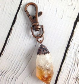 Raw Citrine and Copper Keyring by Hawkhouse