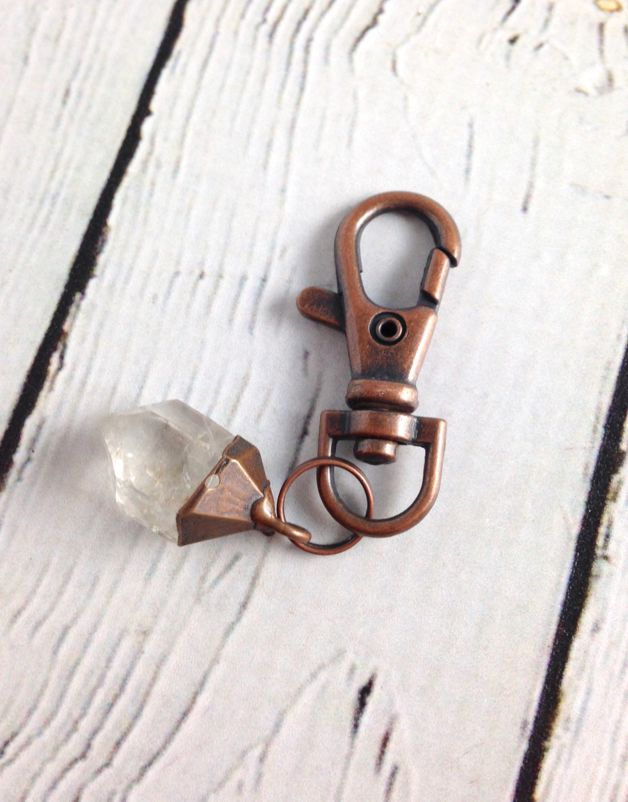 Raw Tibetan Quartz and Copper Keyring by Hawkhouse