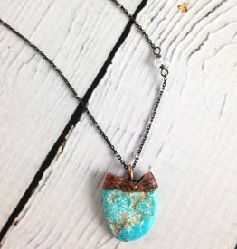 "Raw Turquoise Chunk on 24"" Sterling Silver Satellite Chain - December Birthstone"