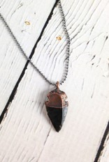 "Raw Obsidian Dragonglass Arrowhead on 18"" Sterling Silver Satellite Chain (good for killing white walkers)"