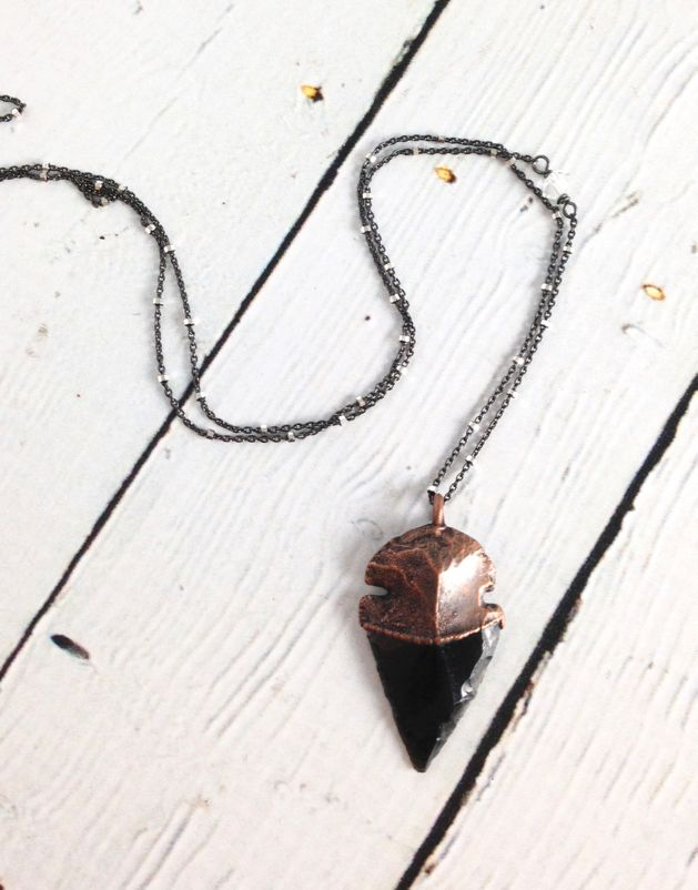 """Raw Obsidian Dragonglass Arrowhead on 24"""" Sterling Silver Satellite Chain (good for killing white walkers)"""