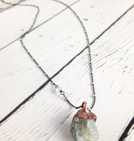 "Aquamarine Chunk 24"" Satellite Sterling Necklace"