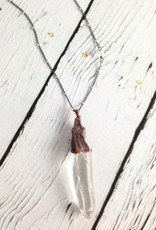 "Large Quartz Crystal on 24"" Oxidized Silver Chain Necklace"