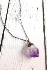 "Amethyst Crystal on 24"" Sterling Silver Chain"