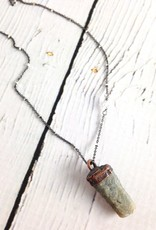 "Raw Sapphire Chunk on 24"" Sterling Silver Satellite Chain - September Birthstone"