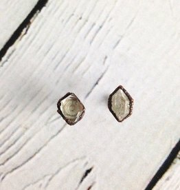 Raw Tibetan Quartz Point Stud Earrings