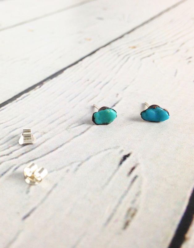 Turquoise Electroformed Stud Earrings