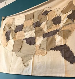 "48""L Cotton Stitched USA Map"