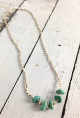Handmade Sterling Silver Necklace with 5 turquoise nuggets, shiny faceted silver knotted on natural silk