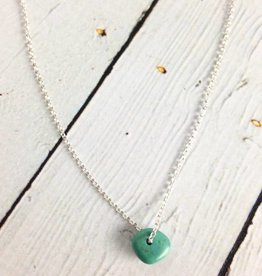 Handmade Sterling Silver Necklace with single turquoise, shiny