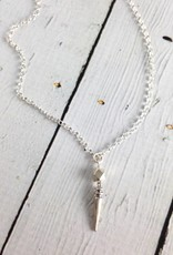 Handmade Sterling Silver Necklace with long chain, matte big spike, big faceted square