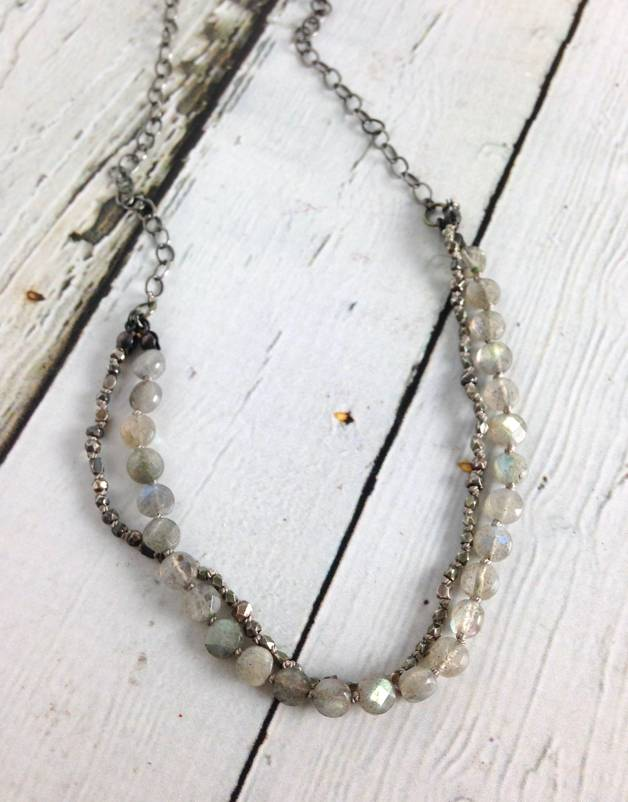 Handmade Sterling Silver Necklace with 1/2 double strand: small labradorite coins/mixed oxidized silver knotted on grey silk