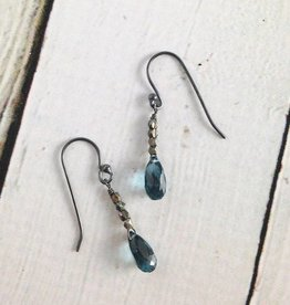 Handmade Sterling Silver Earrings with london blue topaz briolette, 4 oxidized faceted silver on top
