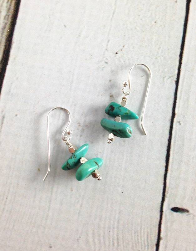 Handmade Sterling Silver Earrings with turquoise stack with faceted shiny silver