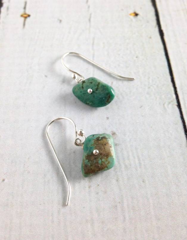 Handmade Sterling Silver Earrings with sideways turquoise nugget shiny silver